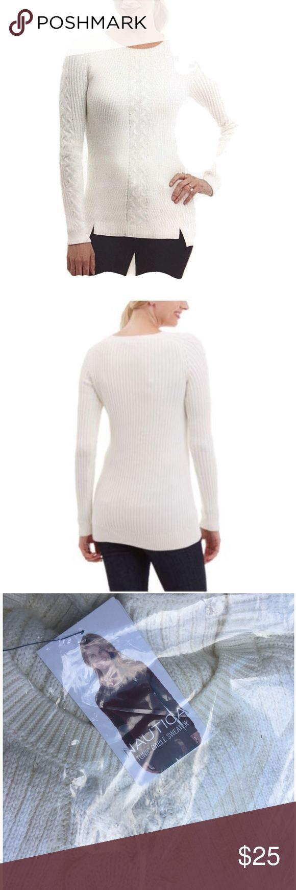 Nautica 100% Cotton Cable Knit Tunic Sweater White Authentic Brand new in manufacturers packaging. color: White. Nautica Sweaters