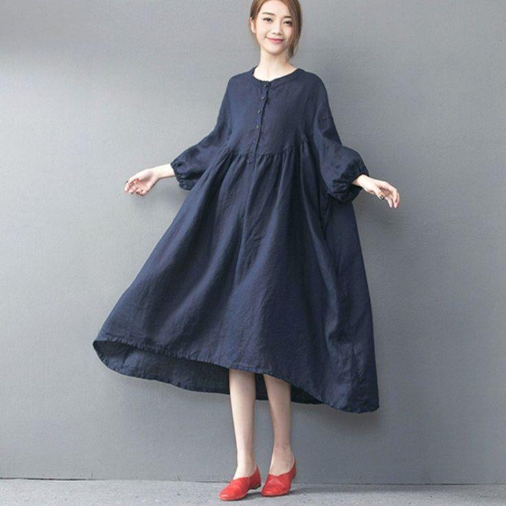 Spring/Autumn Loose Linen Long Dress
