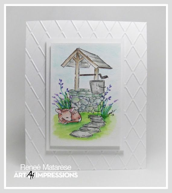 Wishing Well And Deer Watercolor Art Impressions Stamps Art
