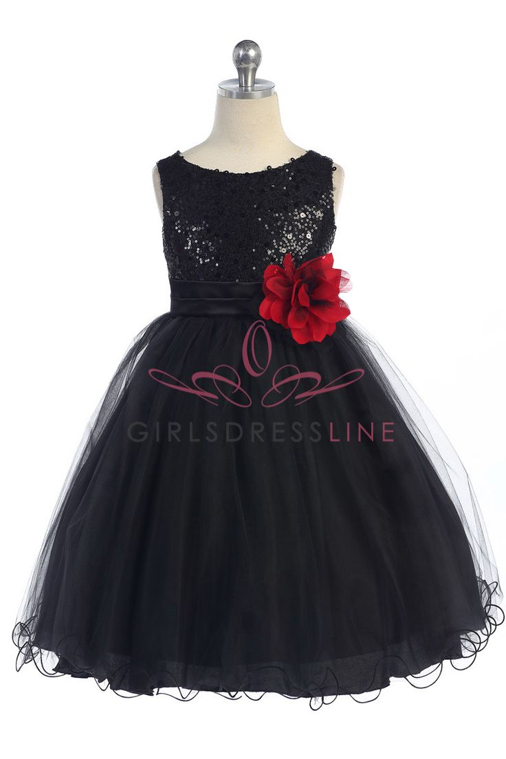 Gorgeous Black Sequined Round Neck Tulle Overlaid Girl Dress K305-BK  K305-BK $39.95