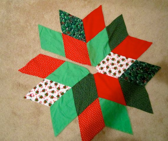 Patchwork Christmas Tree Skirt 36 Inches Vintage By Happykristen