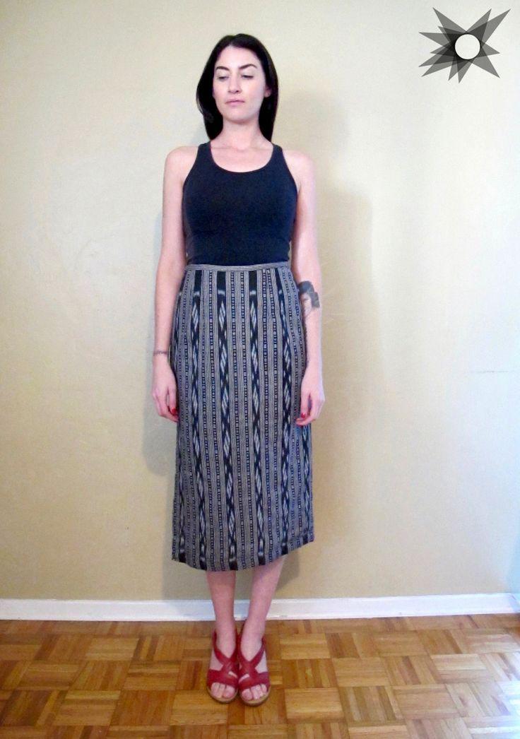 Vintage 1990's Black and White Woven Cotton Ikat Midi Pencil Skirt Size Medium by SatelliteVintageCo on Etsy