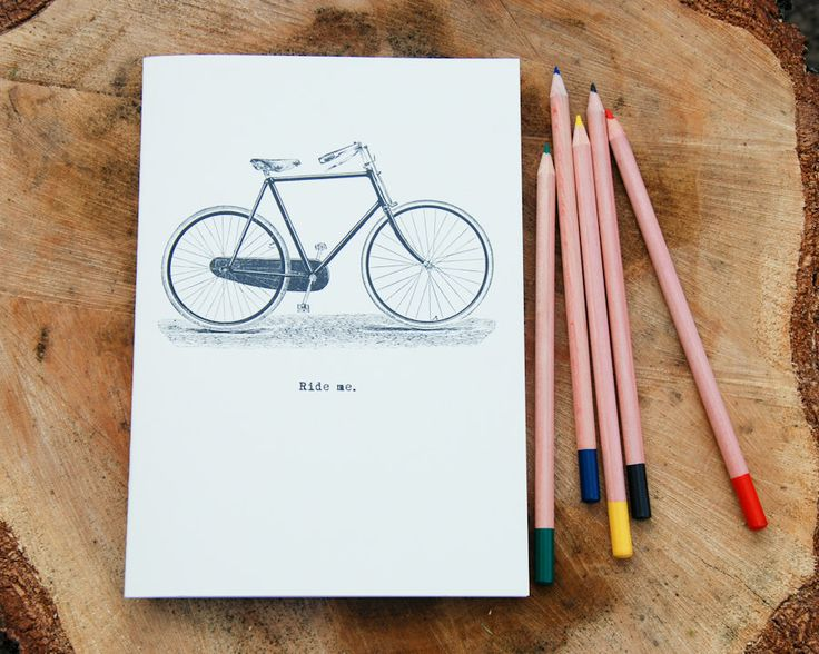 Ride Me A5 notebook - vintage bicycle design stapled gifts under 5 for girlfriend boyfriend hipster colleague husband wife