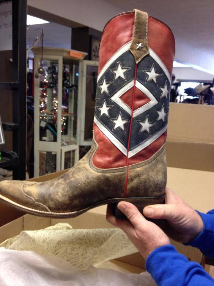 Rebel Flag Boots at Farmer & Western Supply Store in Mooresville, NC