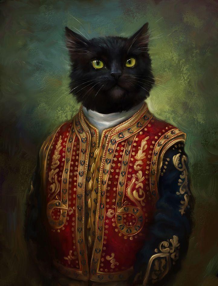 Untitled (portrait of cat dressed in regal attire) by Uzbeki artist Eldar Zakirov. via my modern met