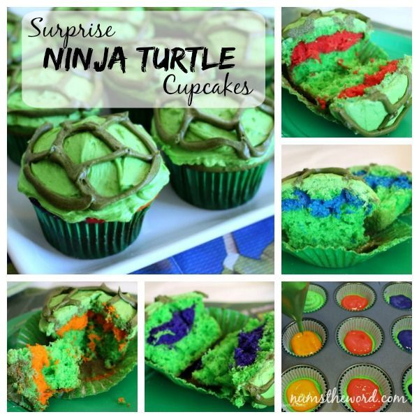 Surprise Ninja Turtle Cupcakes - simple but fun idea for TMNT party. Cupcakes look like turtles, but inside is a hidden strip of color for one of the turtles!