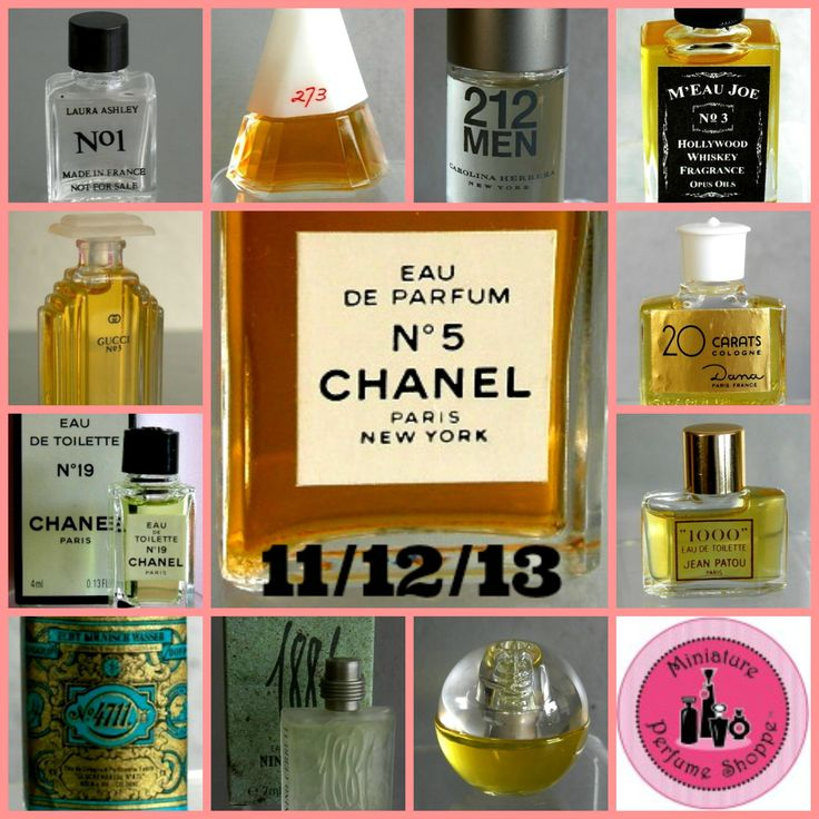 """Yesterday was ELEVEN ° TWELVE ° THIRTEEN - what's in a name or number? When it comes to #miniature #perfume bottles...everything! Some of our favorite minis named by numbers include (left to right): N° 1 (Laura Ashley), 273 (Fred Hayman), 212 (Carolina Herrera), M'Eau Joe N° 3 (Opus Oils), N° 3 (Gucci), 20 Carats (Dana), N° 19 (Chanel), N° 5 (Chanel), 1000 (Jean Patou), 4711 (4711), 1881 (Nino Cerutti), 360° (Perry Ellis), and """"mini"""" more!"""