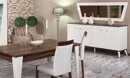 -Milas yemek odası takımı içerisindeki parçalar: gümüşlük, konsol, yemek masası, fogus sandalye. -Takım için kullanılan masanın ayakları ağaçtır.