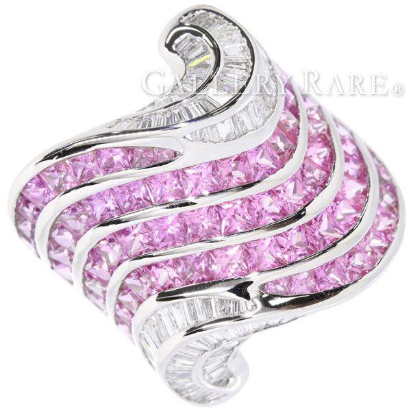 ピンクサファイア リング テーパーダイヤ サファイア 6.09ct ダイヤモンド 1.46ct K18WGホワイトゴールド ジュエリー 指輪 レール留め