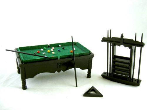 Dolls-House-Miniature-Pub-Bar-Study-Furniture-Black-Pool-Snooker-Billiard-Table