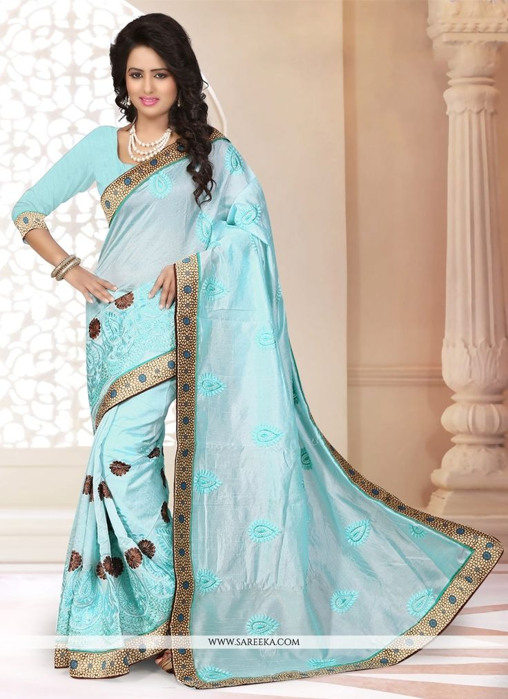Designed with simplicity with a touch of soberness in its work makes a masterpiece. Design and pattern will be at the peak of your splendor when you attire this turquoise chanderi designer saree. The ...
