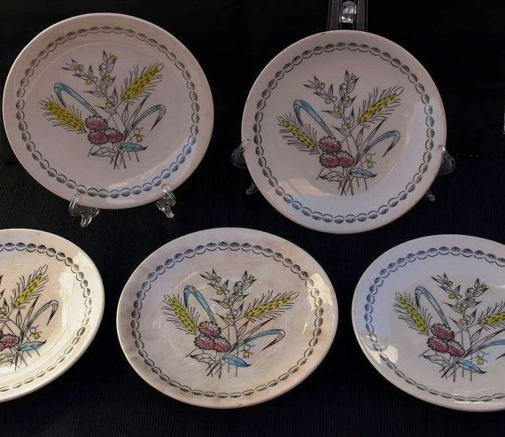 Vintage 1960s Broadhurst hand painted Side Plates  by FunkyKoala
