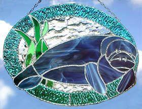Nautical+Manatee+Stained+Glass+Suncatcher+by+StainedGlassDelight,+$49.95