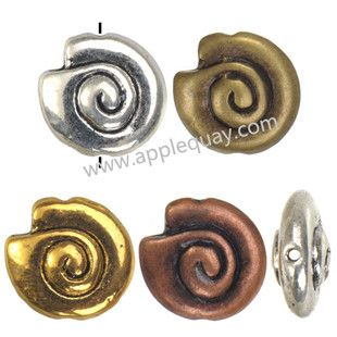 Zinc Alloy Animal Beads,Spiral Shell,Plated,Cadmium And Lead Free,Various Color For Choice,Approx 14*6.5mm,Hole:Approx 1mm,Sold By Bags,No 002117
