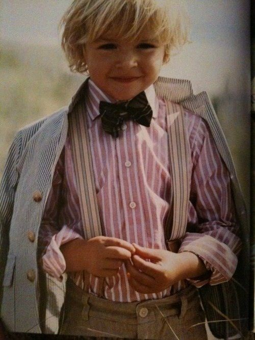Children kids style: 1940's outfit for boys pink striped shirt, dark bowtie tweed pants & jacket