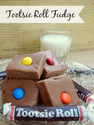 Num's the Word:  This Tootsie Roll Fudge tastes like Peanut Butter Chocolate Fudge but instead of using cocoa powder, you use Tootsie Rolls to get your chocolate flavor!  This is a family favorite and oh so creamy!