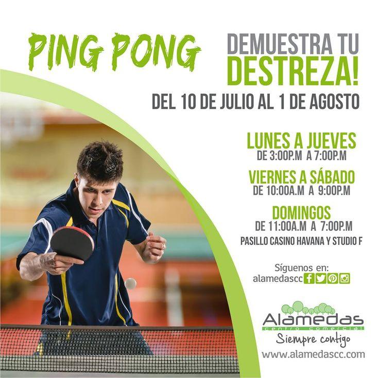 ¿Sabías que el Ping Pong es el deporte en el que más se conjugan la preparación física con la inteligencia?  Anímate y demuestra tu destreza a partir del 10 de Julio al 1 de Agosto en tu Centro Comercial Favorito #Alamedas #SiempreContigo