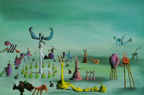 I saw a Desmond Morris (the zoologist) exhibition once and now totally love his work. You don't see or hear about his art at all. Totemic Decline by Desmond Morris.