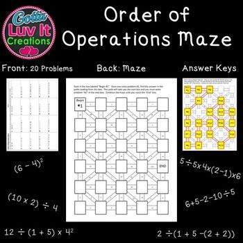 Worksheets Multi Operational Mathematical Maze 1000 images about gotta luv it creations on pinterest maze order of operations includes two mazes for a total 40 problems no prep