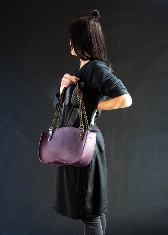 824d76266470 Bags and purses Leather Tote Handbag Ladybuq women tote leather bag antique  gold chain original purse full grain leather personalized bag