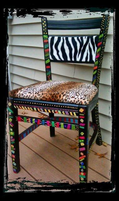 funky handpainted chair by ThePaintedChairShop on Etsy,