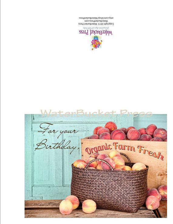 Digital Birthday Card Peaches by WaterBucketPress on Etsy
