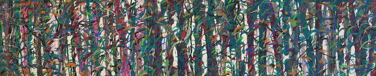 aatoth franyo: Hosszú, vízszintes erdő / Long Horizontal Forest - 2012 – 30x90 cm akril, vászon / acrylic on canvas