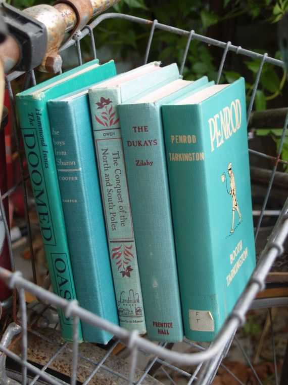 vintage books  aqua stack by fivetenfifteen on Etsy Baskets, books, and color coordination... I'm in!
