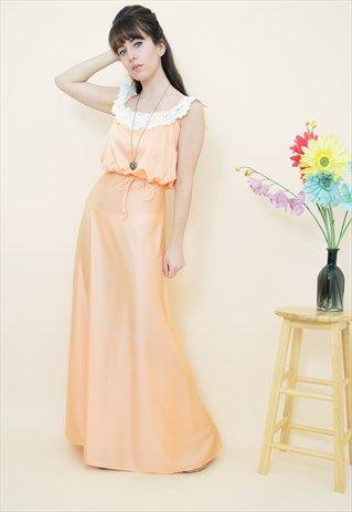 Vintage 70s peach lace sleeveless wedding occasion dress