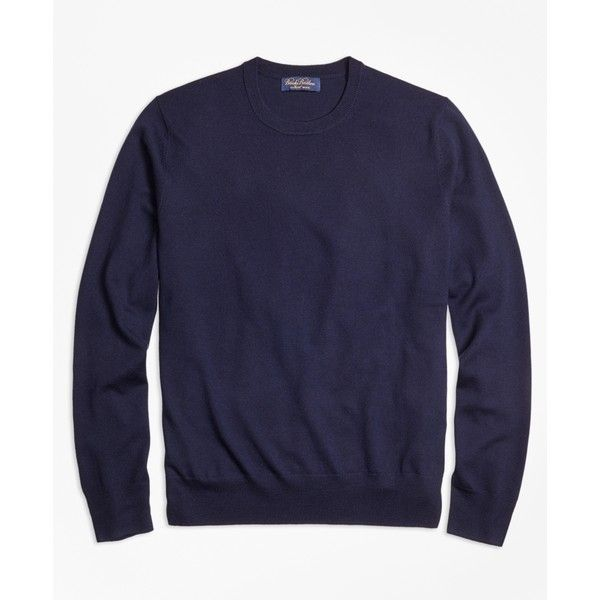 Brooks Brothers Saxxon Wool Crewneck Sweater ($148) ❤ liked on Polyvore featuring men's fashion, men's clothing, men's sweaters, navy, old navy mens sweaters, mens shawl collar sweater, mens crew neck sweaters, mens wool shawl collar sweater and mens wool sweaters