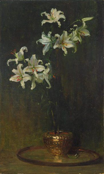 "Arthur Streeton   Australia, England, Australia  b.08 Apr 1867  d.01 Sep 1943  Lilium Auratum 1933 oil on canvas on hardboard 134.2 x 84cm Signed l.l., brown paint ""A. STREETON"". Not dated  Art Gallery of NSW Collection 