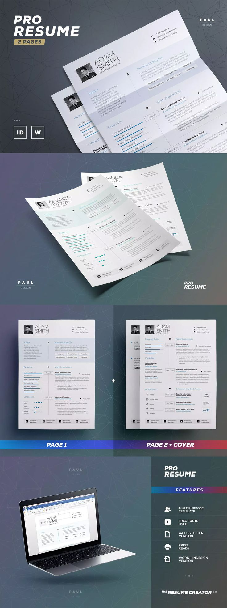 102 best resume cv design templates images on pinterest pro resume cv template indesign ms word indd a4 and us letter yelopaper Images