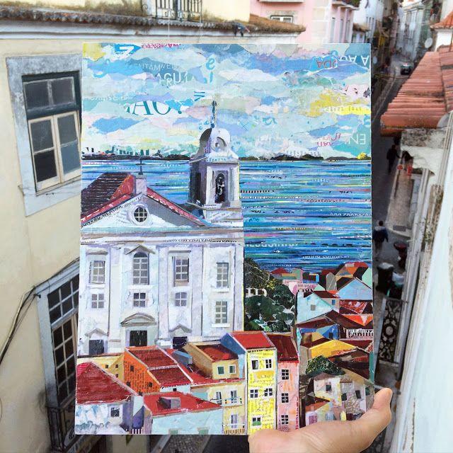 IGREJA DE Sto ESTEVÃO / LISBOA - ALFAMA / 100% collage / paper on plywood / 30 x 40cm / ©philippe patricio / all rights reserved