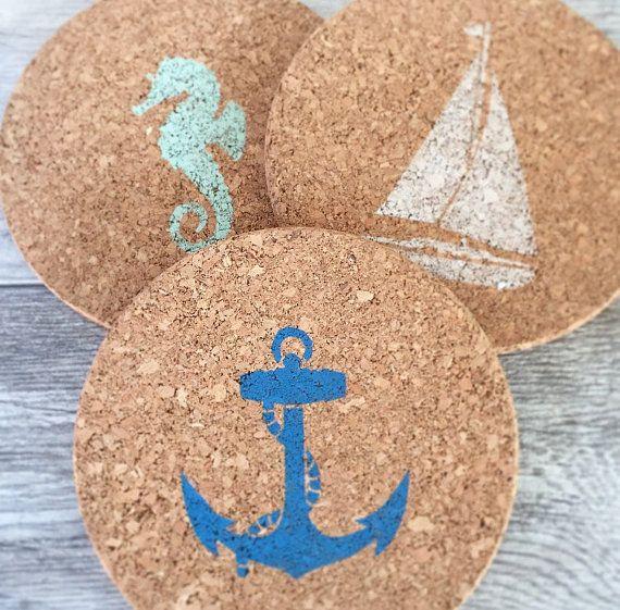 Nautical Cork Trivet - Beach Kitchen Decor - Kitchen Hot Plate - Coastal Decor Beach - Decorative Trivet - Housewarming Gift for Her #beach #decor #home #style #decoration #homedecor #beachlife #shabbychic #beachbum #seahorse