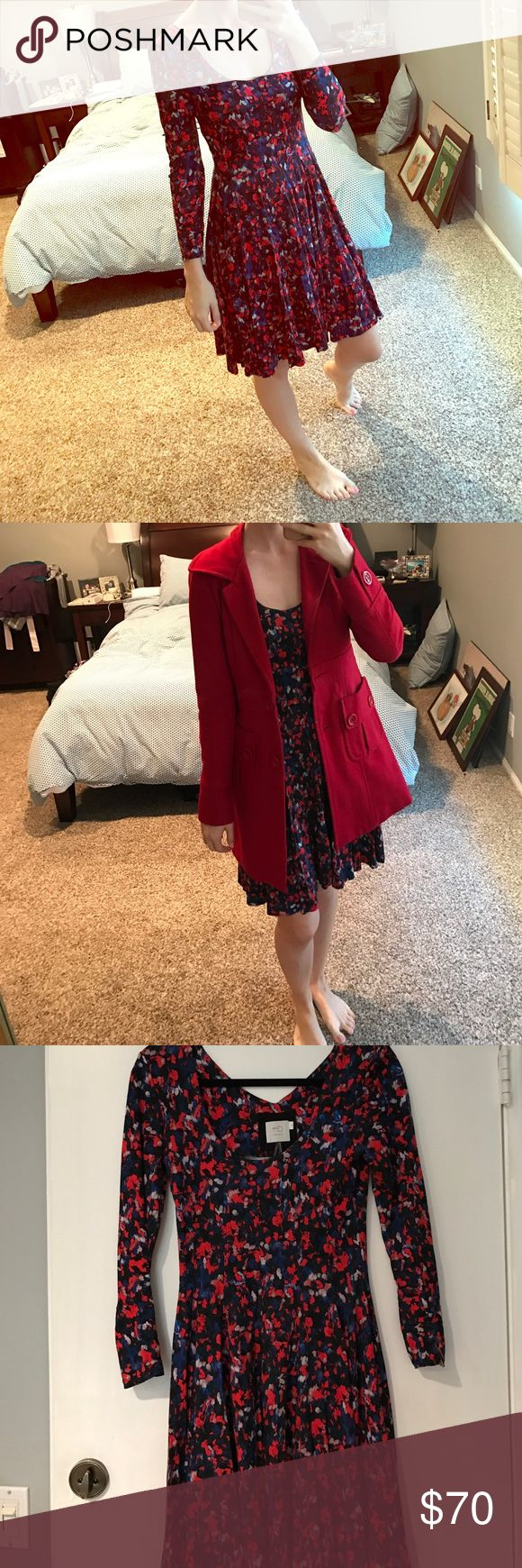 Floral anthropologie dress Beautiful and soft! Can be worn from spring, fall, and winter. Red coat for sale in separate post Anthropologie Dresses Long Sleeve