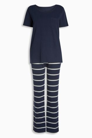 Buy Navy Stripe Jersey Pyjamas from the Next UK online shop
