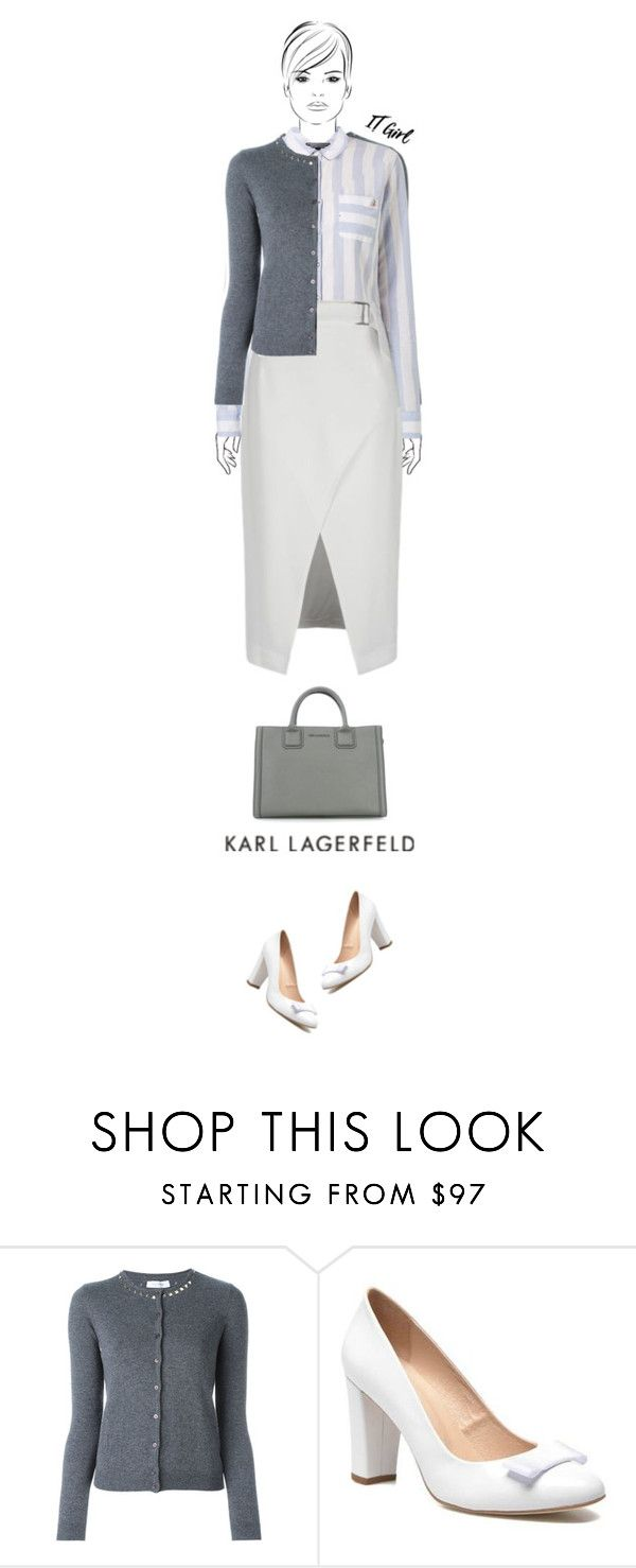 """""""Office outfit: Gray - White"""" by downtownblues ❤ liked on Polyvore featuring Ana Alcazar and Karl Lagerfeld"""