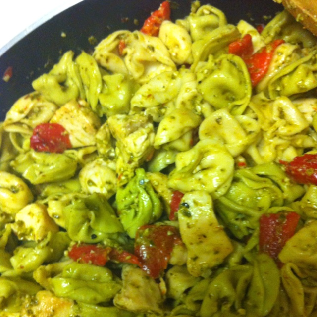 Pesto chicken with tortellini and roasted red peppers.