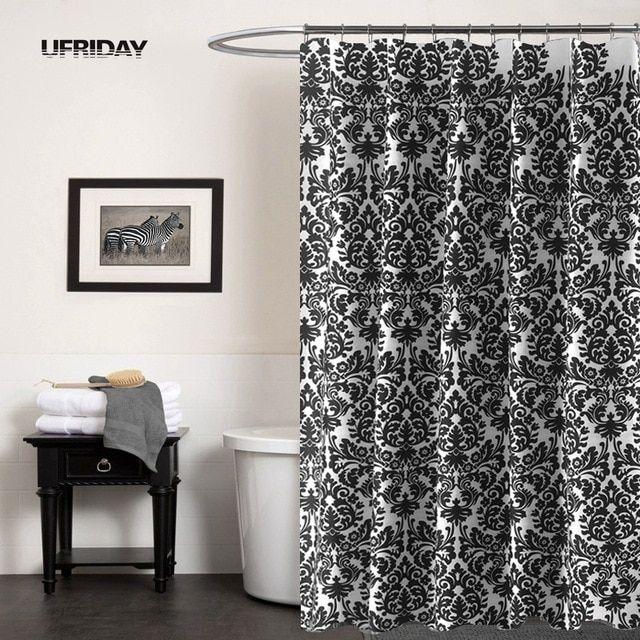 UFRIDAY schwarz-weiß Barock wasserdicht Duschvorhang verdicken Badezimme …   – Shower Curtains