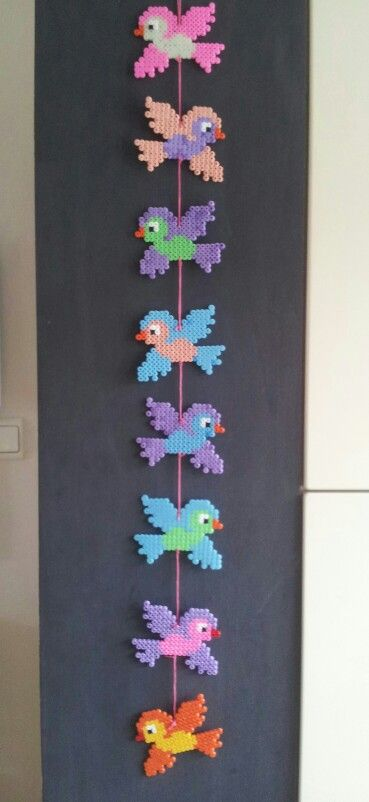 Hama beads birds mobile