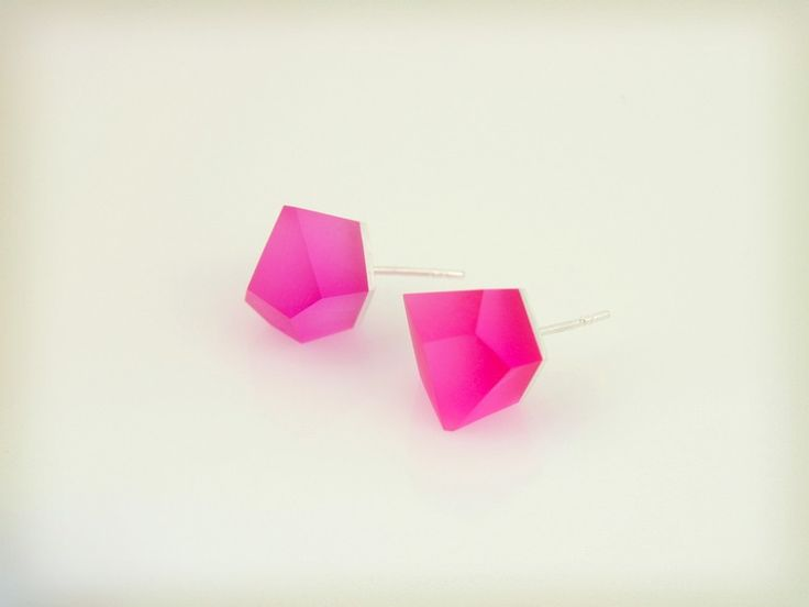 Petite Vu - fluorescent pink, silver earrings from Fruit Bijoux by DaWanda.com
