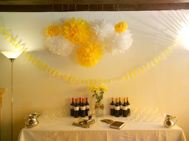 Yellow and white pompons decorating the drinks tableSearch, White Parties, House Parties, Parties Inspiration