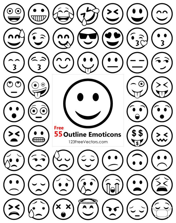 Outline Emoji Icons Free Pack Emoji templates, Emoji