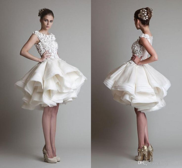 Popular Krikor Jabotian Vintage Short Wedding Dresses Jewel Neck Illusion Lace Appliques D Floral Tiered Ruffles