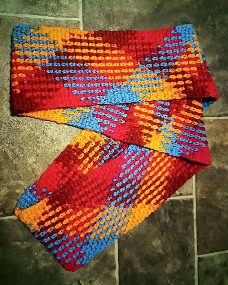 Yarn pooling 5.5 hook..24 stitches..moss stitch
