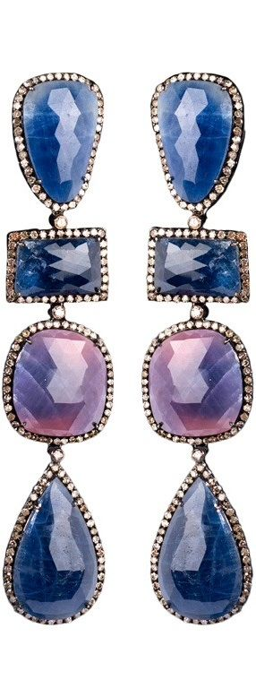 Hautetramp: Blue and Pink Sapphire Pendant Earrings