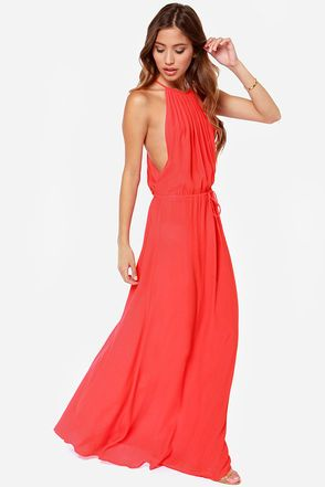 Drape Shifter Coral Red Maxi Dress