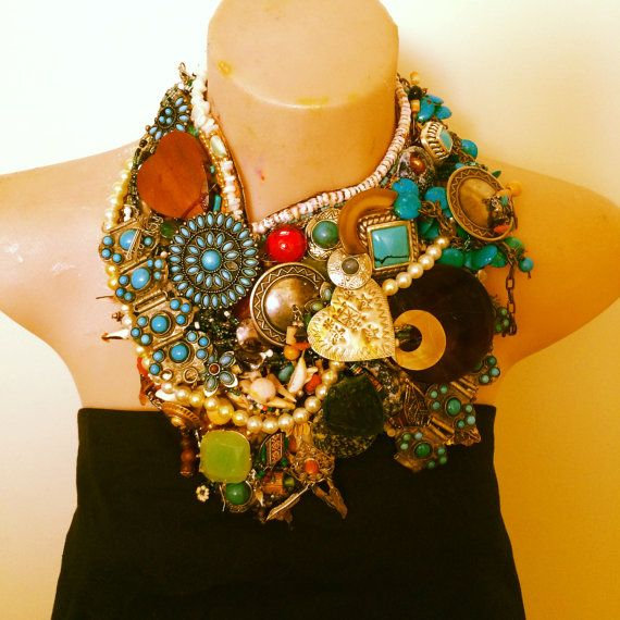 BOHEMIAN RHAPSODY awesome bohemian giant multicolored statement bib collage collar necklace
