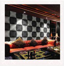 Ktv pvc behang 3d mozaïek plaid wijn bar achtergrond muur decor papel de parede roll zwart muurschildering behang 3d(China (Mainland))