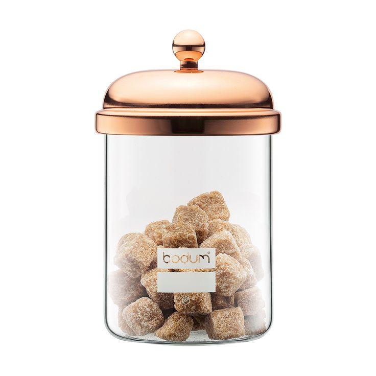 CHAMBORD Förvaringsburk 0,5 L, Koppar, Bodum  Alternativt de liknande som finns på Åhlens i guld eller IKEAS glasburkar som dom på landet